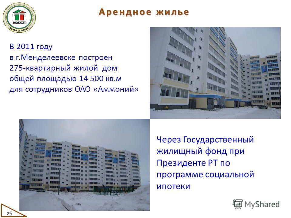 В 2011 году в г.Менделеевске построен 275-квартирный жилой дом общей площадью 14 500 кв.м для сотрудников ОАО «Аммоний» Через Государственный жилищный фонд при Президенте РТ по программе социальной ипотеки 26 Арендное жилье