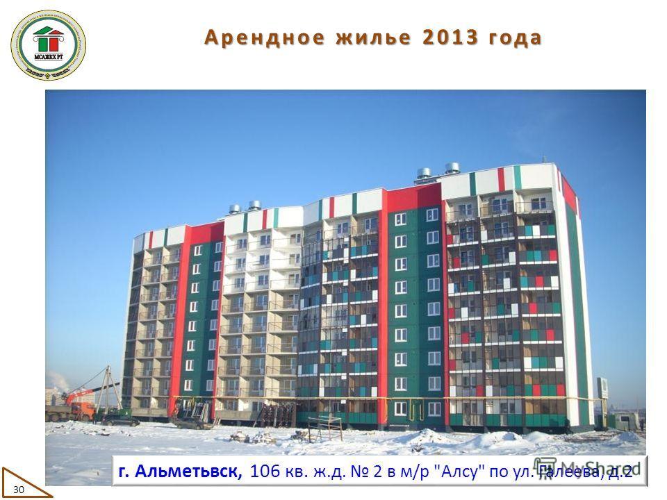 30 г. Альметьвск, 106 кв. ж.д. 2 в м/р Алсу по ул. Галеева, д.2 Арендное жилье 2013 года