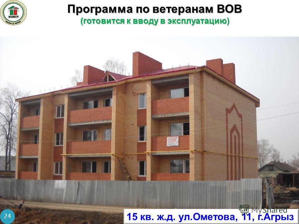 Программа по ветеранам ВОВ (готовится к вводу в эксплуатацию) 24 15 кв. ж.д. ул.Ометова, 11, г.Агрыз