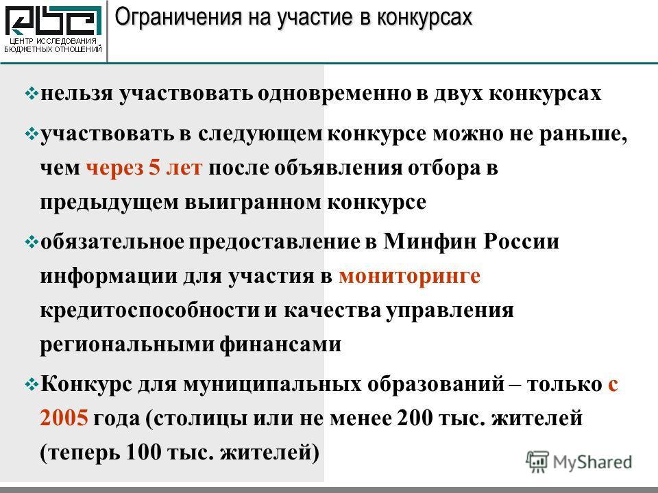 Ограничения на участие в конкурсах нельзя участвовать одновременно в двух конкурсах участвовать в следующем конкурсе можно не раньше, чем через 5 лет после объявления отбора в предыдущем выигранном конкурсе обязательное предоставление в Минфин России