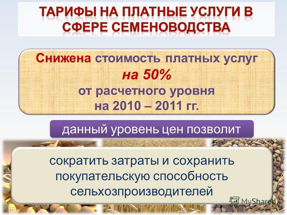 6 Снижена стоимость платных услуг на 50% от расчетного уровня на 2010 – 2011 гг. данный уровень цен позволит сократить затраты и сохранить покупательскую способность сельхозпроизводителей 6 15.12.2010