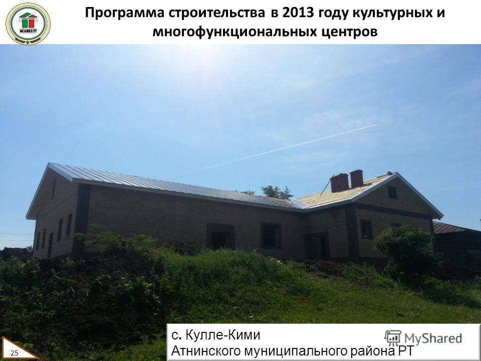 Программа строительства в 2013 году культурных и многофункциональных центров 25 с. Кулле-Кими Атнинского муниципального района РТ 25