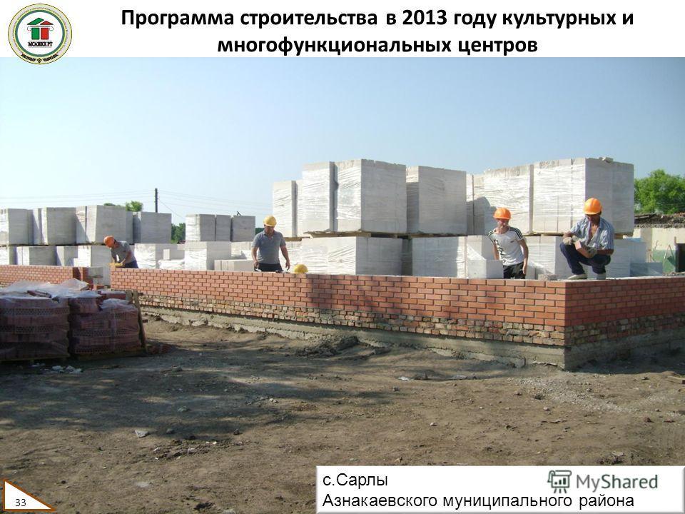 Программа строительства в 2013 году культурных и многофункциональных центров 33 с.Сарлы Азнакаевского муниципального района 33