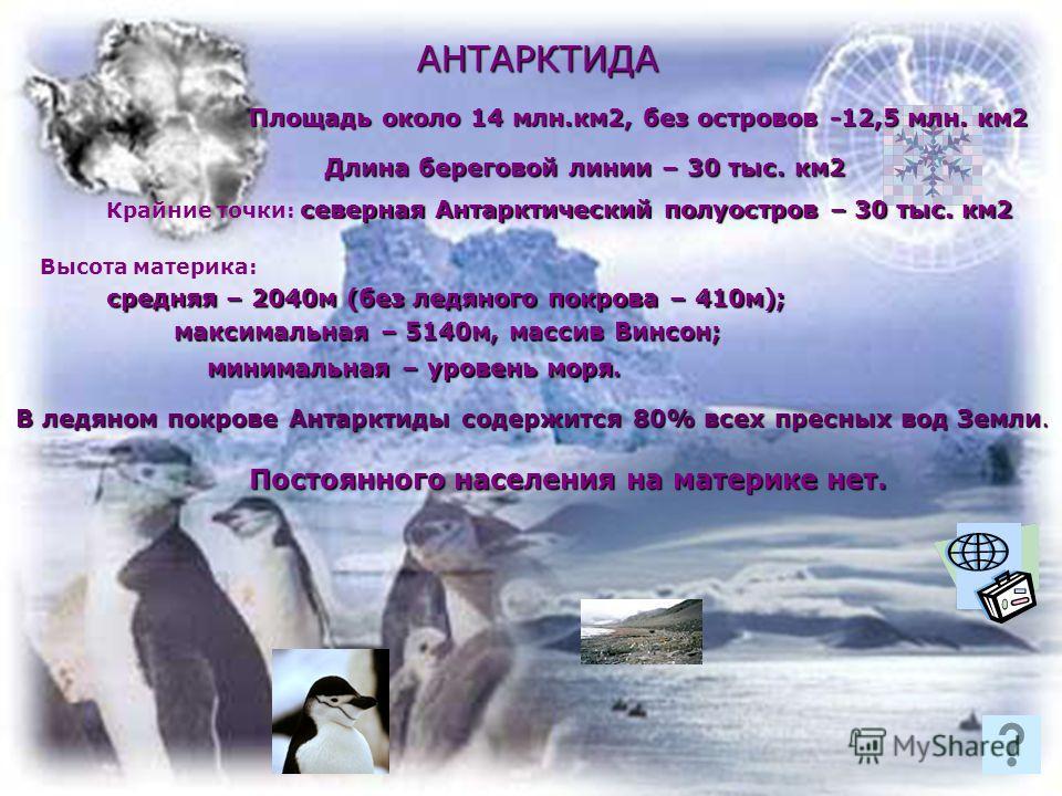 АНТАРКТИДА Площадь около 14 млн.км2, без островов -12,5 млн. км2 северная Антарктический полуостров – 30 тыс. км2 Крайние точки: северная Антарктический полуостров – 30 тыс. км2 Длина береговой линии – 30 тыс. км2 Высота материка: средняя – 2040м (бе