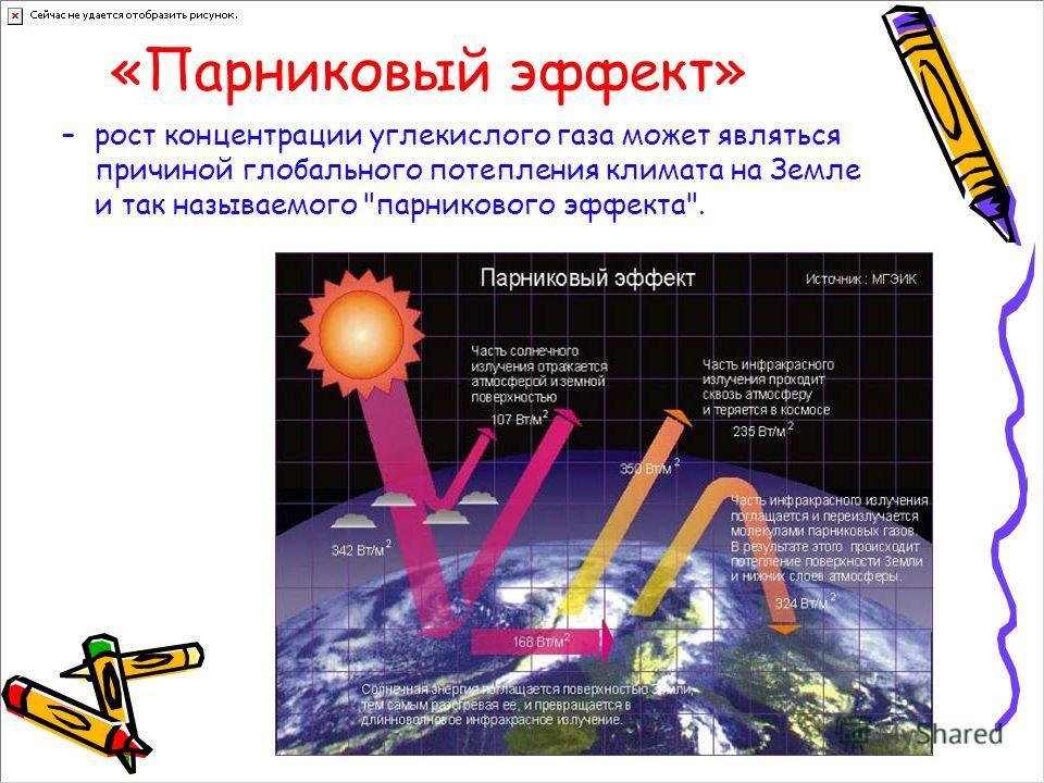 «Парниковый эффект» –рост концентрации углекислого газа может являться причиной глобального потепления климата на Земле и так называемого парникового эффекта.