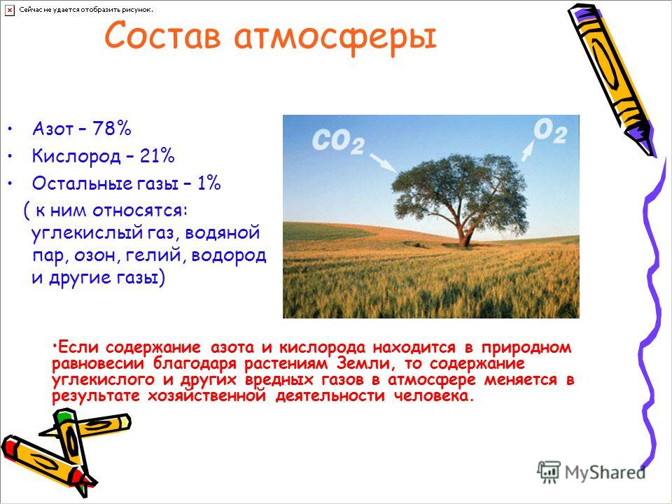 Состав атмосферы Азот – 78% Кислород – 21% Остальные газы – 1% ( к ним относятся: углекислый газ, водяной пар, озон, гелий, водород и другие газы) Если содержание азота и кислорода находится в природном равновесии благодаря растениям Земли, то содерж