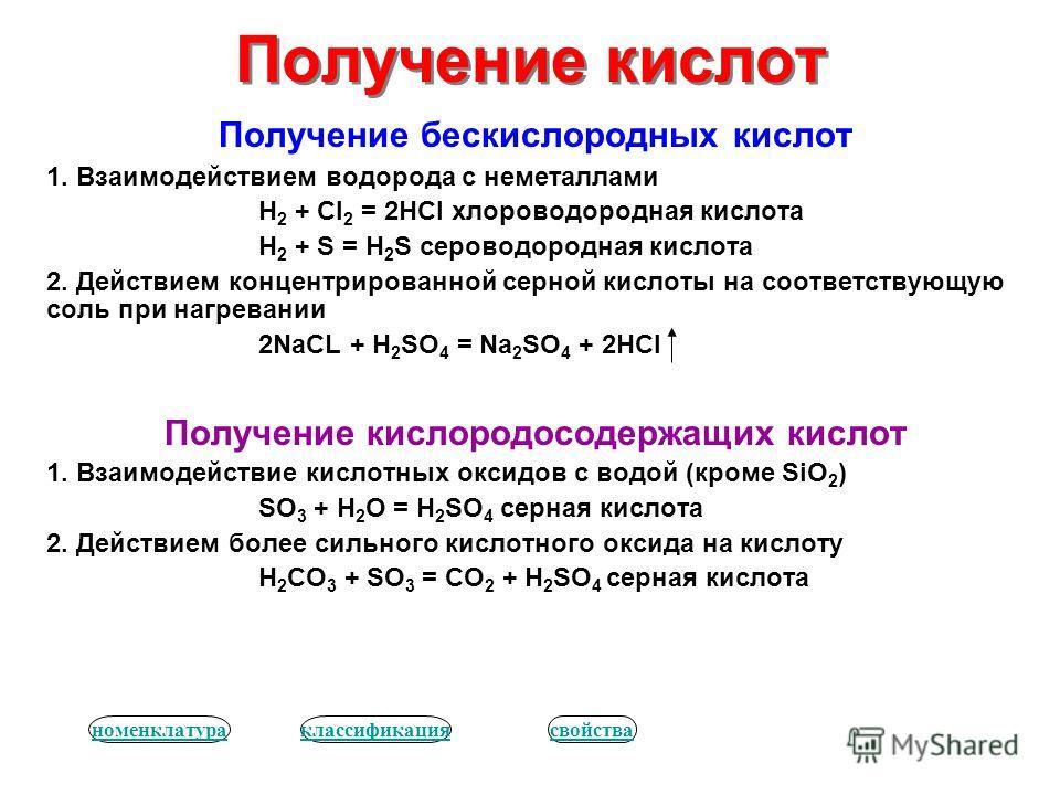 Получение кислот Получение бескислородных кислот 1. Взаимодействием водорода с неметаллами H 2 + Cl 2 = 2HCl хлороводородная кислота H 2 + S = H 2 S сероводородная кислота 2. Действием концентрированной серной кислоты на соответствующую соль при нагр