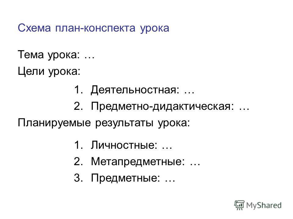 Схема план-конспекта урока Тема урока: … Цели урока: 1.Деятельностная: … 2.Предметно-дидактическая: … Планируемые результаты урока: 1.Личностные: … 2.Метапредметные: … 3.Предметные: …