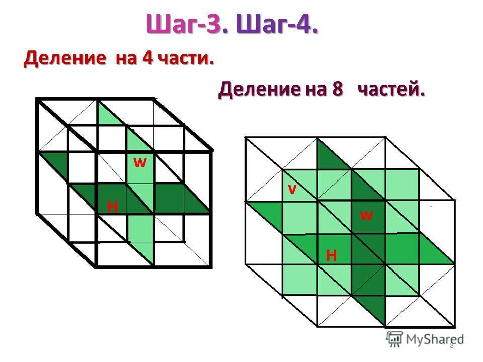 Шаг-3. Шаг-4. Деление на 4 части. Деление на 8 частей. Деление на 8 частей. 8 Н w w v H