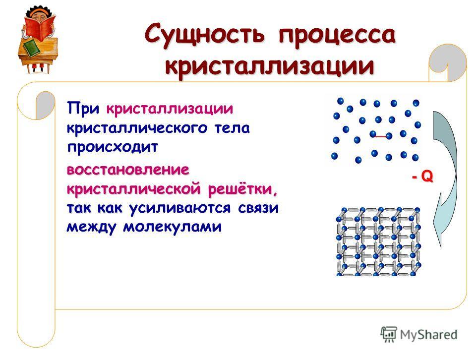 Сущность процесса кристаллизации При кристаллизации кристаллического тела происходит восстановление кристаллической решётки, так как восстановление кристаллической решётки, так как усиливаются связи между молекулами - Q