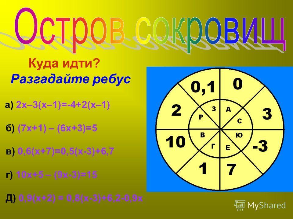 а) 2х–3(х–1)=-4+2(х–1) б) (7х+1) – (6х+3)=5 в) 0,6(х+7)=0,5(х-3)+6,7 г) 10х+5 – (9х-3)=15 Д) 0,9(х+2) = 0,8(х-3)+6,2-0,9х Куда идти? Разгадайте ребус