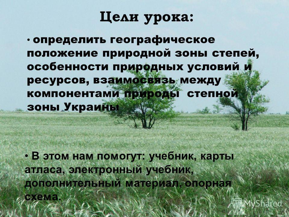 Цели урока: определить географическое положение природной зоны степей, особенности природных условий и ресурсов, взаимосвязь между компонентами природы степной зоны Украины В этом нам помогут: учебник, карты атласа, электронный учебник, дополнительны