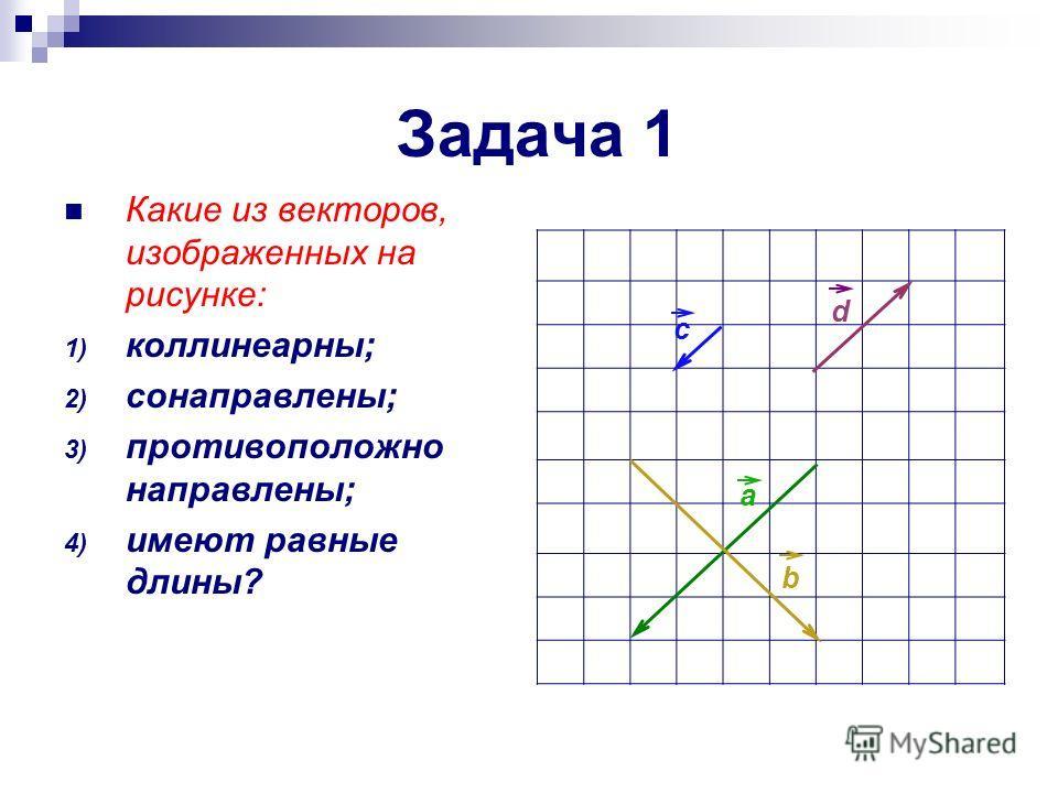 Задача 1 Какие из векторов, изображенных на рисунке: 1) коллинеарны; 2) сонаправлены; 3) противоположно направлены; 4) имеют равные длины? a b d c