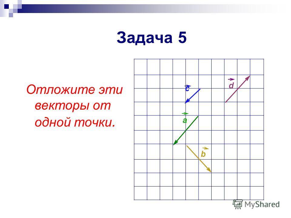 Отложите эти векторы от одной точки. a b d c Задача 5
