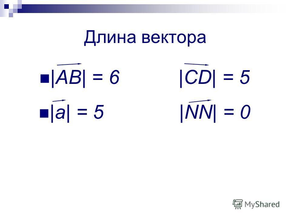 Длина вектора |AB| = 6 |CD| = 5 |a| = 5 |NN| = 0