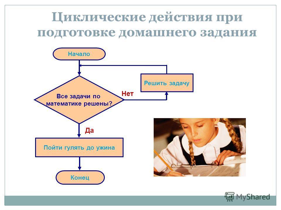 Циклические действия при подготовке домашнего задания Начало Все задачи по математике решены? Решить задачу Пойти гулять до ужина Конец Да Нет