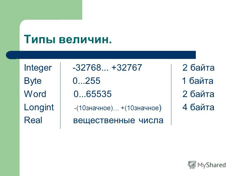 Типы величин. Integer -32768... +32767 2 байта Byte 0...255 1 байта Word 0...65535 2 байта Longint -(10значное)… +(10значное ) 4 байта Real вещественные числа
