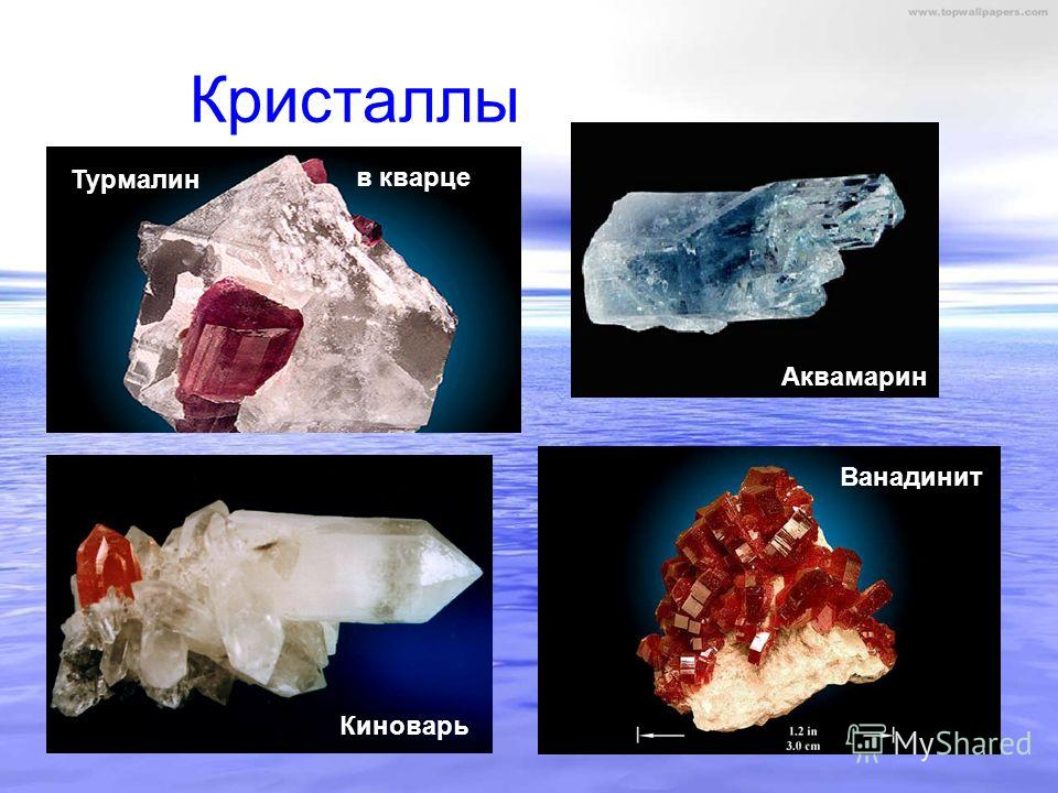 Кристаллы Аквамарин Ванадинит Киноварь Турмалин в кварце