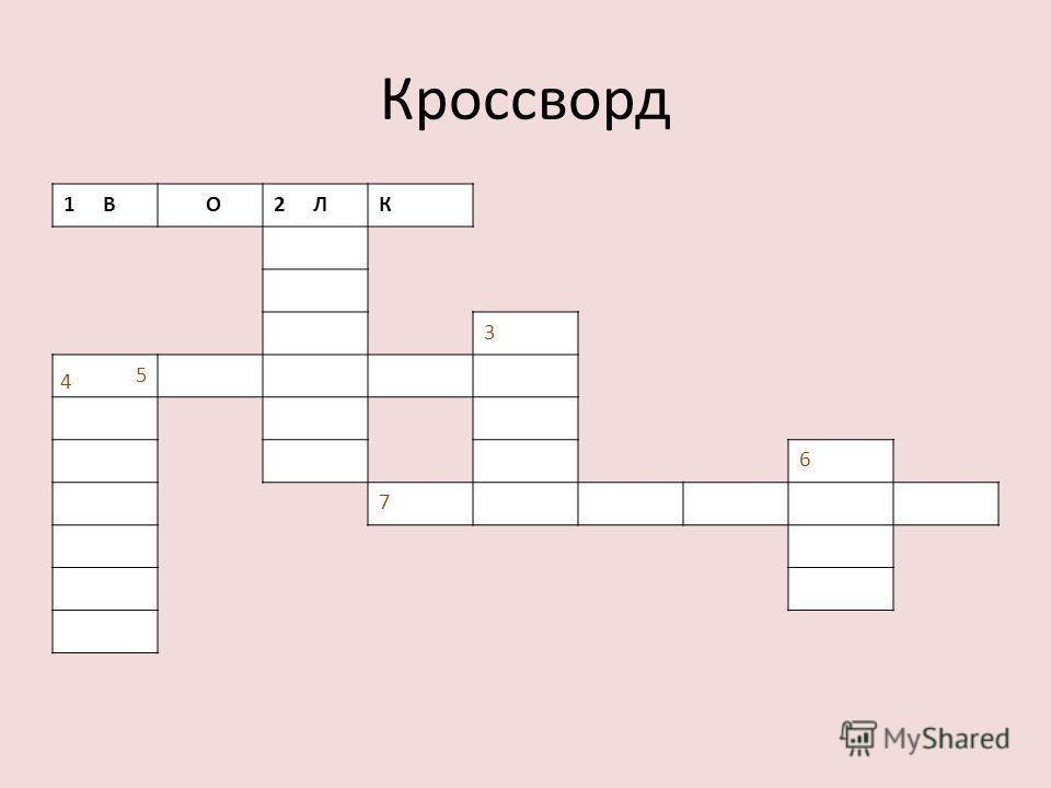 Кроссворд 1В1В О2Л2ЛК 3 5 6 7 4