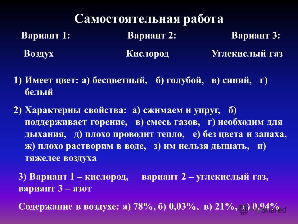 Самостоятельная работа Вариант 1: Вариант 2: Вариант 3: Воздух Кислород Углекислый газ 1)Имеет цвет: а) бесцветный, б) голубой, в) синий, г) белый 2)Характерны свойства: а) сжимаем и упруг, б) поддерживает горение, в) смесь газов, г) необходим для ды
