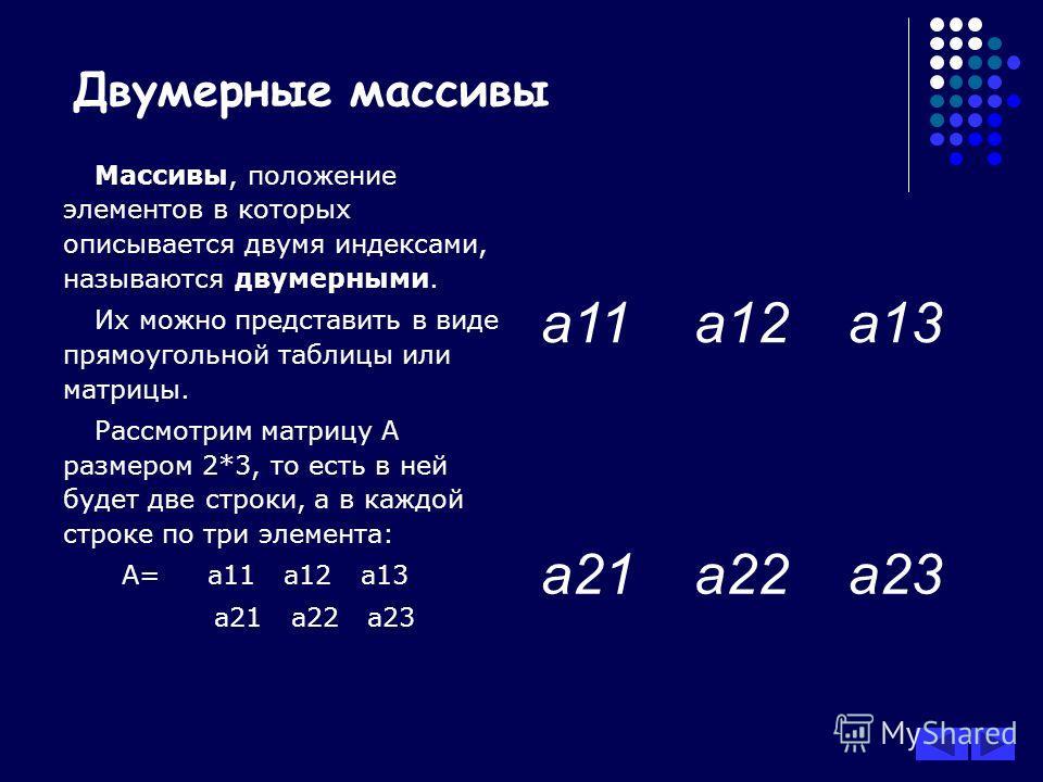 Двумерные массивы Массивы, положение элементов в которых описывается двумя индексами, называются двумерными. Их можно представить в виде прямоугольной таблицы или матрицы. Рассмотрим матрицу А размером 2*3, то есть в ней будет две строки, а в каждой