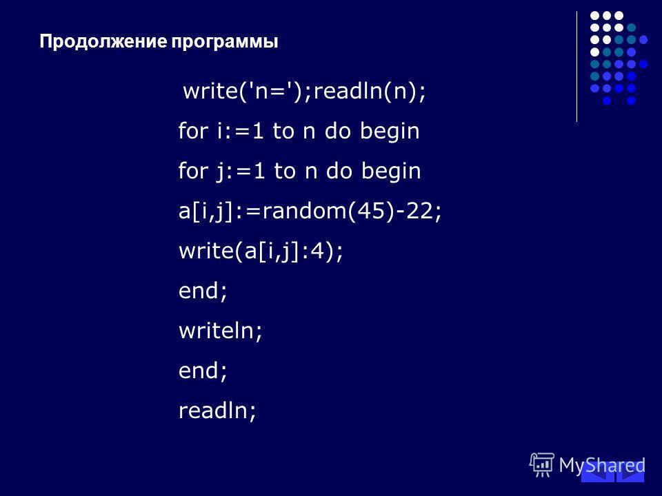 Продолжение программы write('n=');readln(n); for i:=1 to n do begin for j:=1 to n do begin a[i,j]:=random(45)-22; write(a[i,j]:4); end; writeln; end; readln;