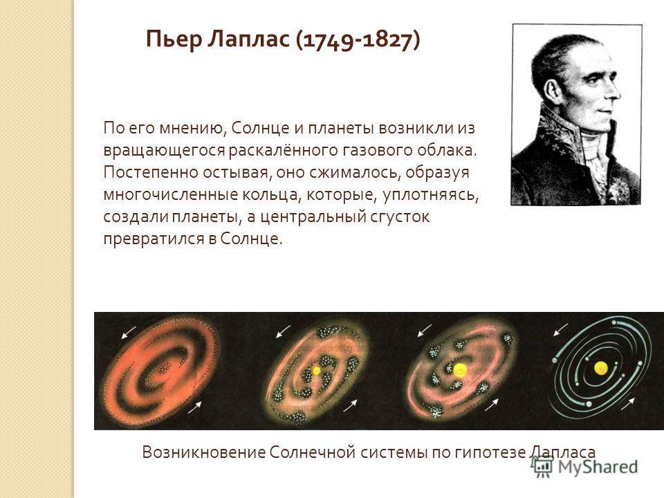 Возникновение Солнечной системы по гипотезе Лапласа Пьер Лаплас (1749-1827) По его мнению, Солнце и планеты возникли из вращающегося раскалённого газового облака. Постепенно остывая, оно сжималось, образуя многочисленные кольца, которые, уплотняясь,
