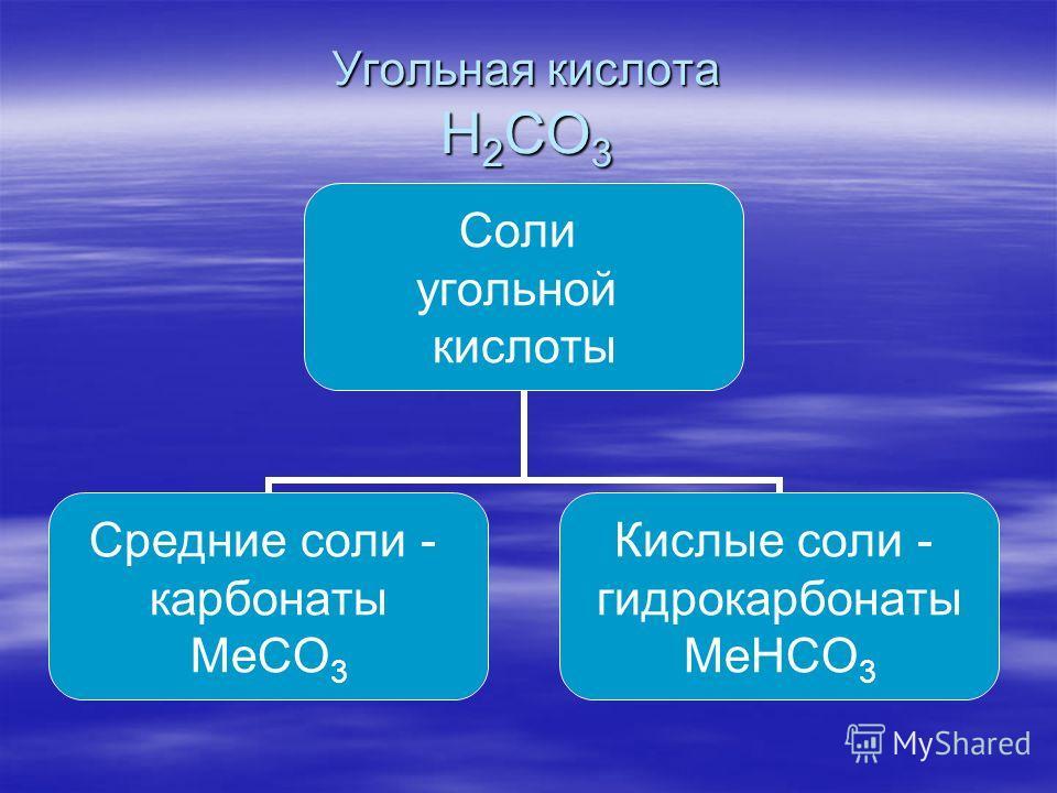 Угольная кислота H 2 CO 3 Соли угольной кислоты Средние соли - карбонаты MeCO3 Кислые соли - гидрокарбонаты MeHCO3