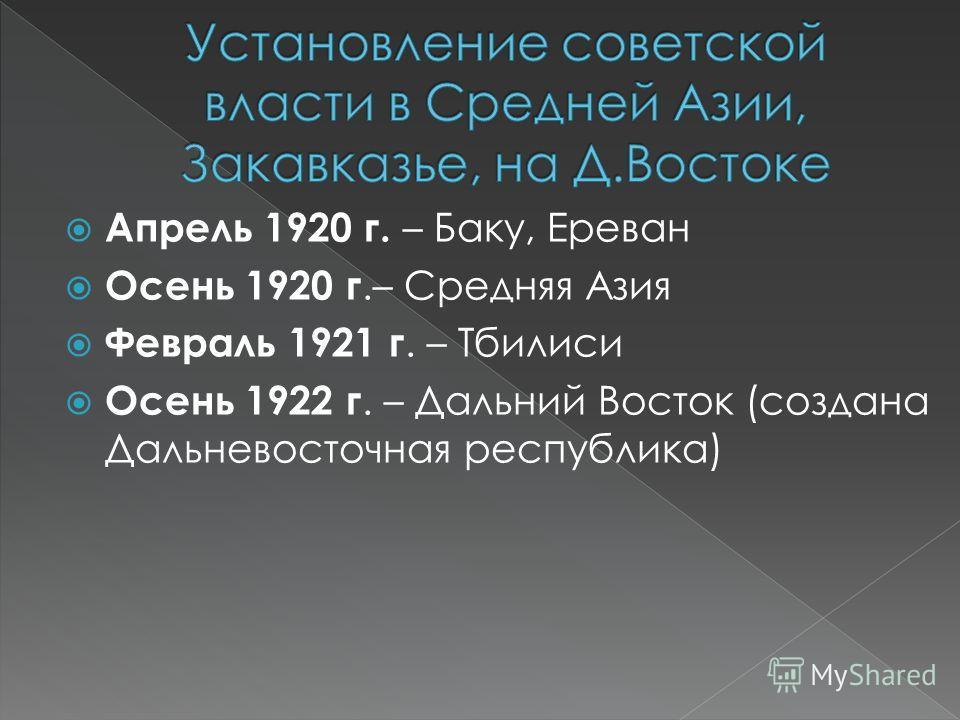 Апрель 1920 г. – Баку, Ереван Осень 1920 г.– Средняя Азия Февраль 1921 г. – Тбилиси Осень 1922 г. – Дальний Восток (создана Дальневосточная республика)