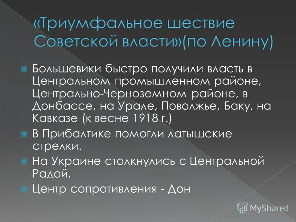 Большевики быстро получили власть в Центральном промышленном районе, Центрально-Черноземном районе, в Донбассе, на Урале, Поволжье, Баку, на Кавказе (к весне 1918 г.) В Прибалтике помогли латышские стрелки. На Украине столкнулись с Центральной Радой.