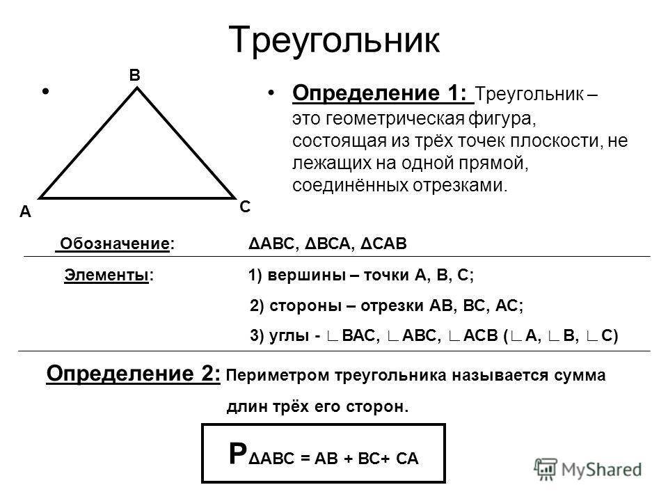 Треугольник Определение 1: Треугольник – это геометрическая фигура, состоящая из трёх точек плоскости, не лежащих на одной прямой, соединённых отрезками. А В С Обозначение: ΔАВС, ΔВСА, ΔСАВ Элементы: 1) вершины – точки А, В, С; 2) стороны – отрезки А
