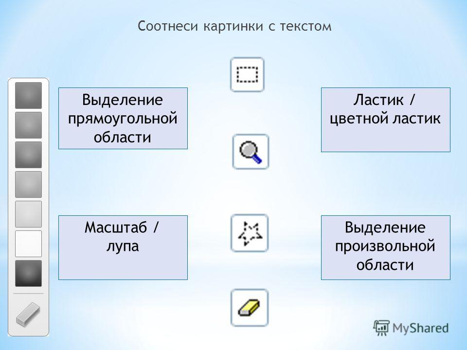 Соотнеси картинки с текстом Выделение произвольной области Выделение прямоугольной области Ластик / цветной ластик Масштаб / лупа
