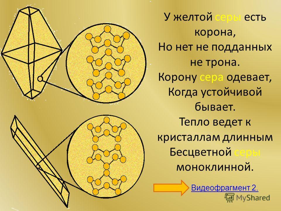 У желтой серы есть корона, Но нет не подданных не трона. Корону сера одевает, Когда устойчивой бывает. Тепло ведет к кристаллам длинным Бесцветной серы моноклинной. Видеофрагмент 2.