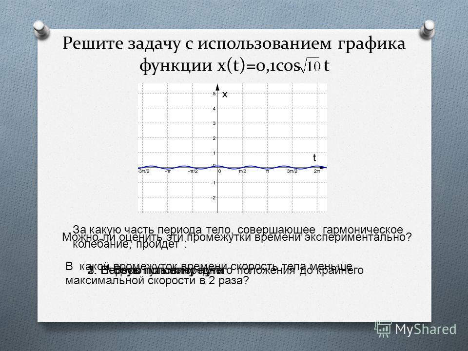 Решите задачу с использованием графика функции x(t)=0,1cos t За какую часть периода тело, совершающее гармоническое колебание, пройдет : 1.Весь путь от среднего положения до крайнего 2. Первую половину пути 3. Вторую половину пути Можно ли оценить эт