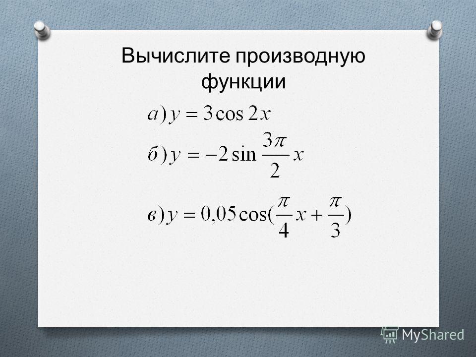 Вычислите производную функции
