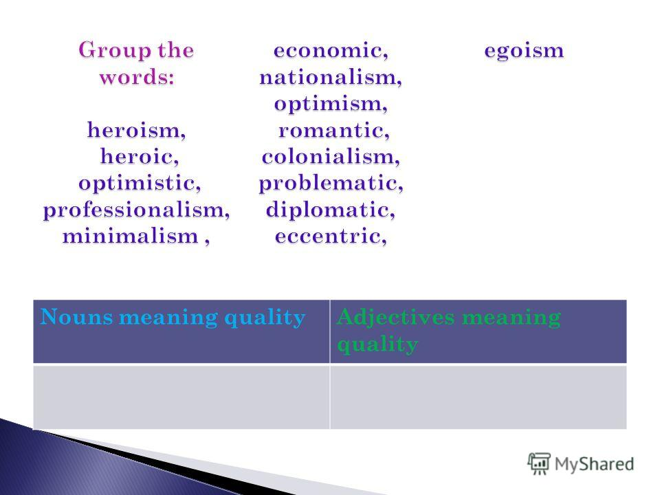Nouns meaning qualityAdjectives meaning quality