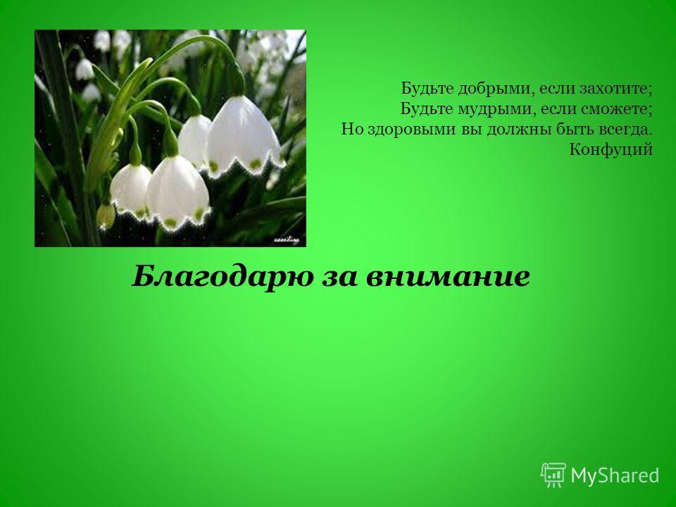 Благодарю за внимание Будьте добрыми, если захотите; Будьте мудрыми, если сможете; Но здоровыми вы должны быть всегда. Конфуций