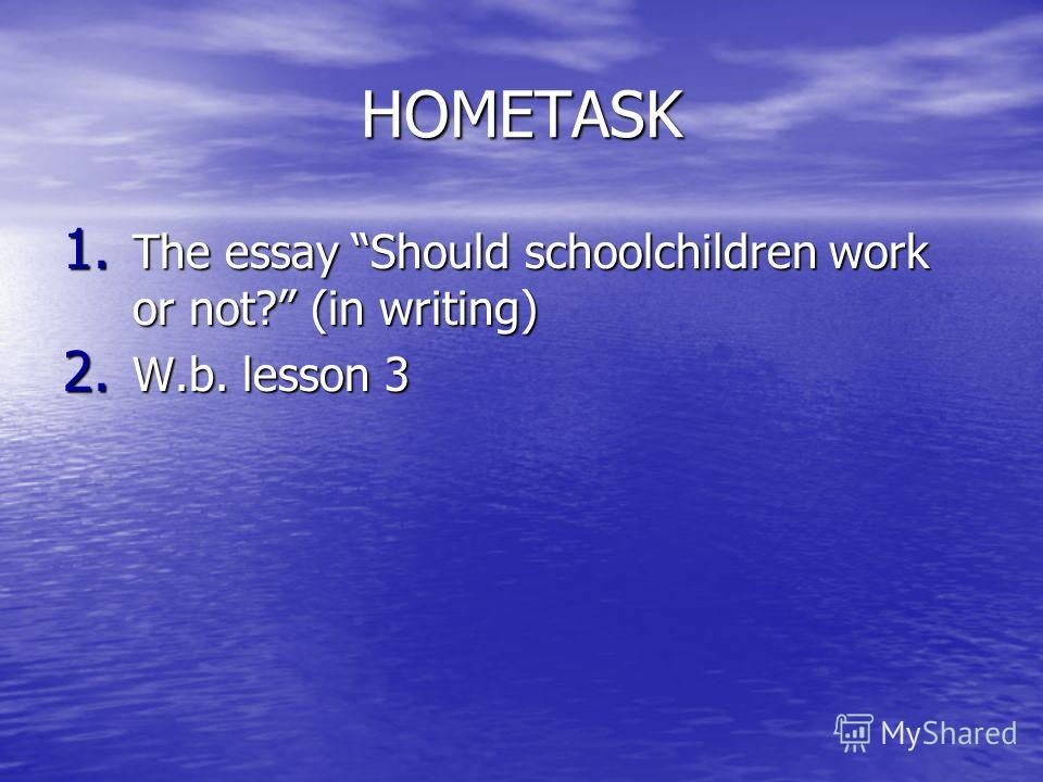HOMETASK 1. The essay Should schoolchildren work or not? (in writing) 2. W.b. lesson 3
