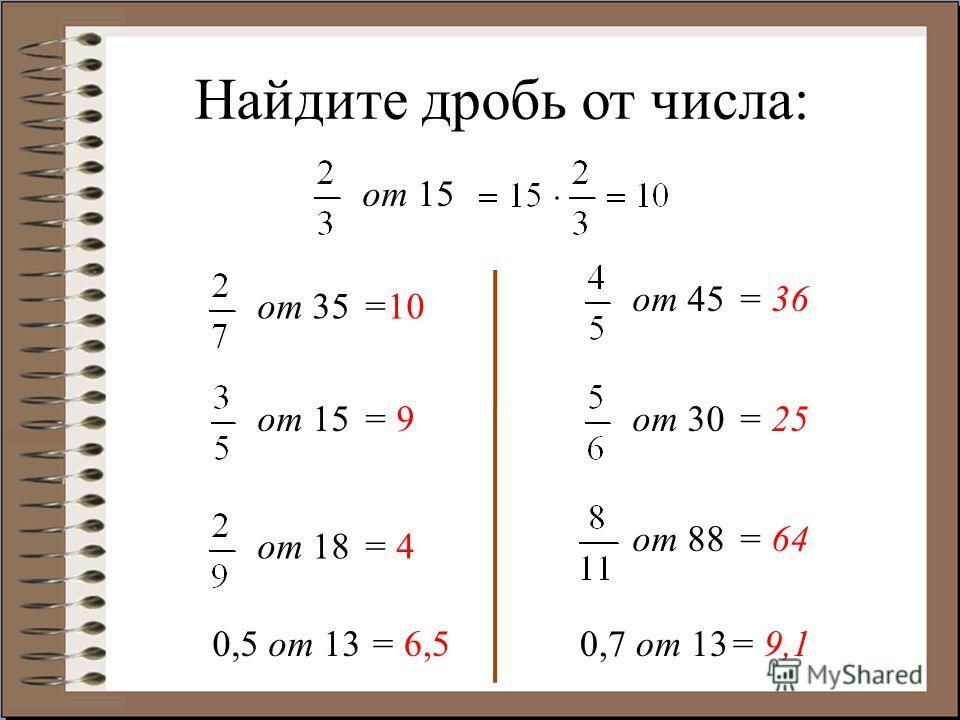 Найдите дробь от числа: от 15 от 35 от 15 от 18 от 45 от 30 от 88 =10 = 9 = 4 = 36 = 25 = 64 0,5 от 130,7 от 13= 6,5= 9,1