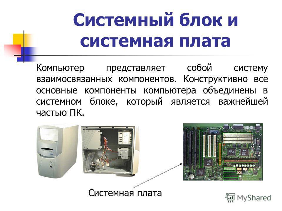 Системный блок и системная плата Компьютер представляет собой систему взаимосвязанных компонентов. Конструктивно все основные компоненты компьютера объединены в системном блоке, который является важнейшей частью ПК. Системная плата
