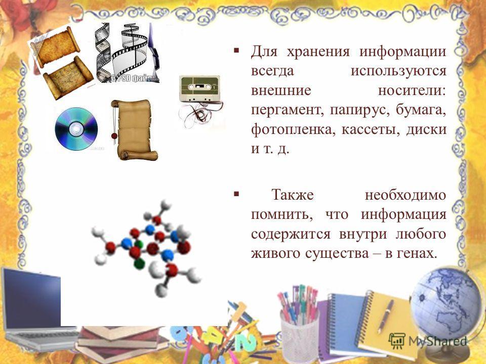 Для хранения информации всегда используются внешние носители: пергамент, папирус, бумага, фотопленка, кассеты, диски и т. д. Также необходимо помнить, что информация содержится внутри любого живого существа – в генах.