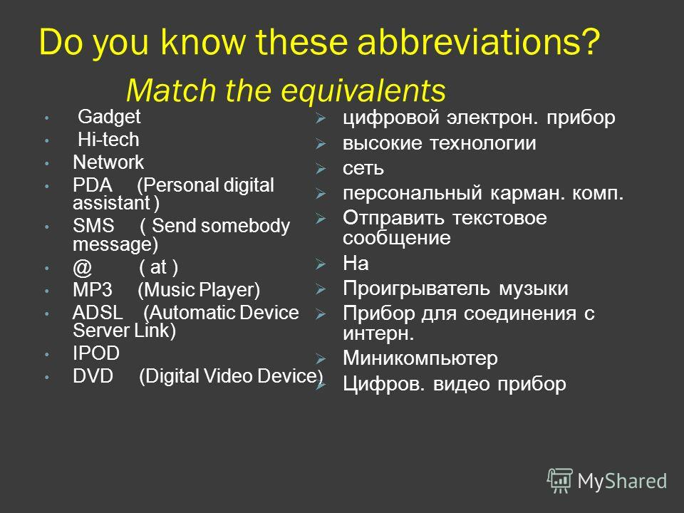 Do you know these abbreviations? Match the equivalents Gadget Hi-tech Network PDA (Personal digital assistant ) SMS ( Send somebody message) @ ( at ) MP3 (Music Player) ADSL (Automatic Device Server Link) IPOD DVD (Digital Video Device ) цифровой эле