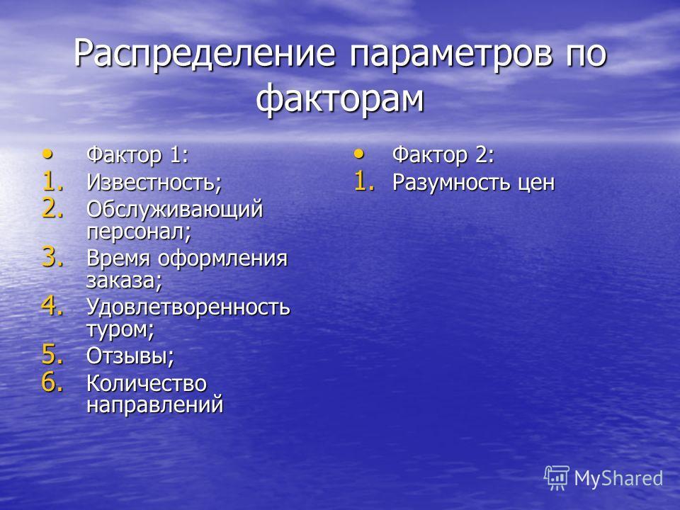 Распределение параметров по факторам Фактор 1: Фактор 1: 1. Известность; 2. Обслуживающий персонал; 3. Время оформления заказа; 4. Удовлетворенность туром; 5. Отзывы; 6. Количество направлений Фактор 2: Фактор 2: 1. Разумность цен