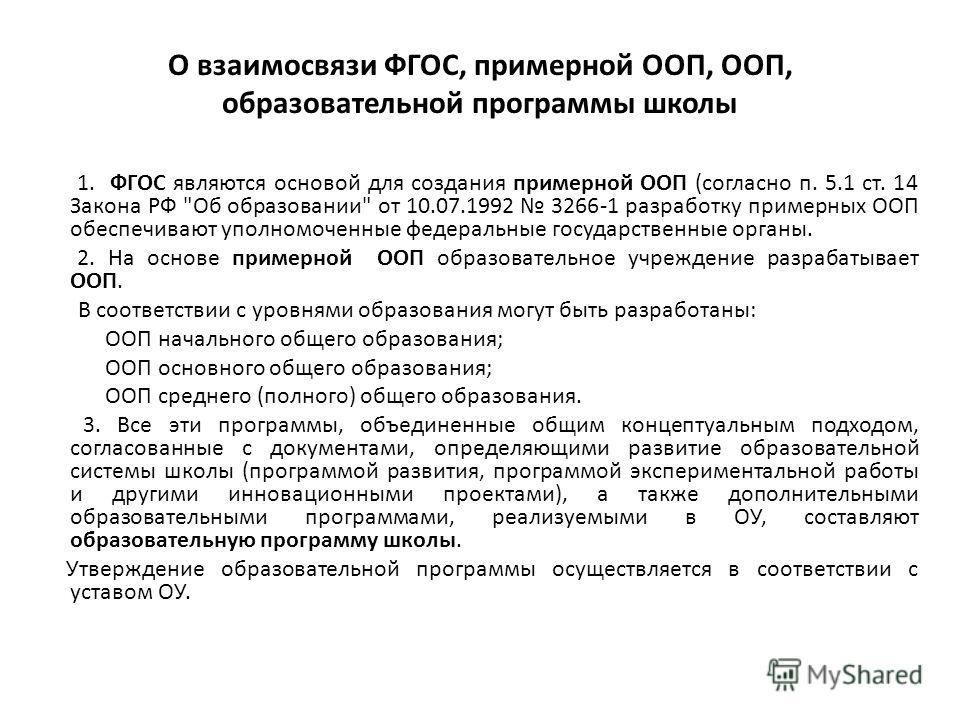 О взаимосвязи ФГОС, примерной ООП, ООП, образовательной программы школы 1. ФГОС являются основой для создания примерной ООП (согласно п. 5.1 ст. 14 Закона РФ