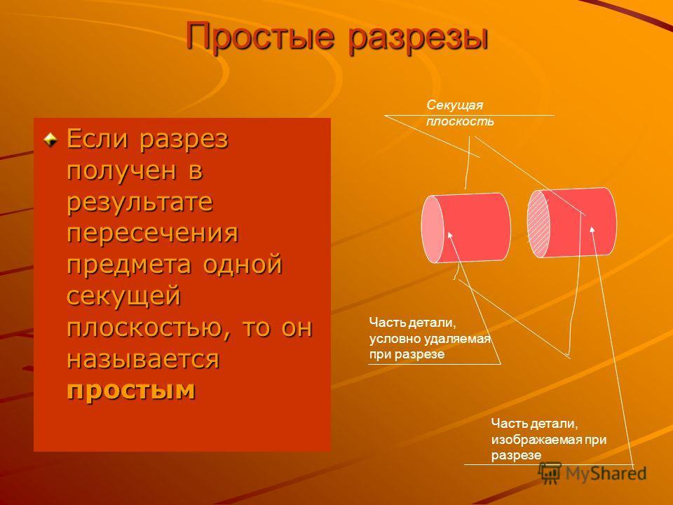 Общие сведения о разрезах Изображение детали, мысленно рассеченной одной или несколькими плоскостями, называется разрезом.