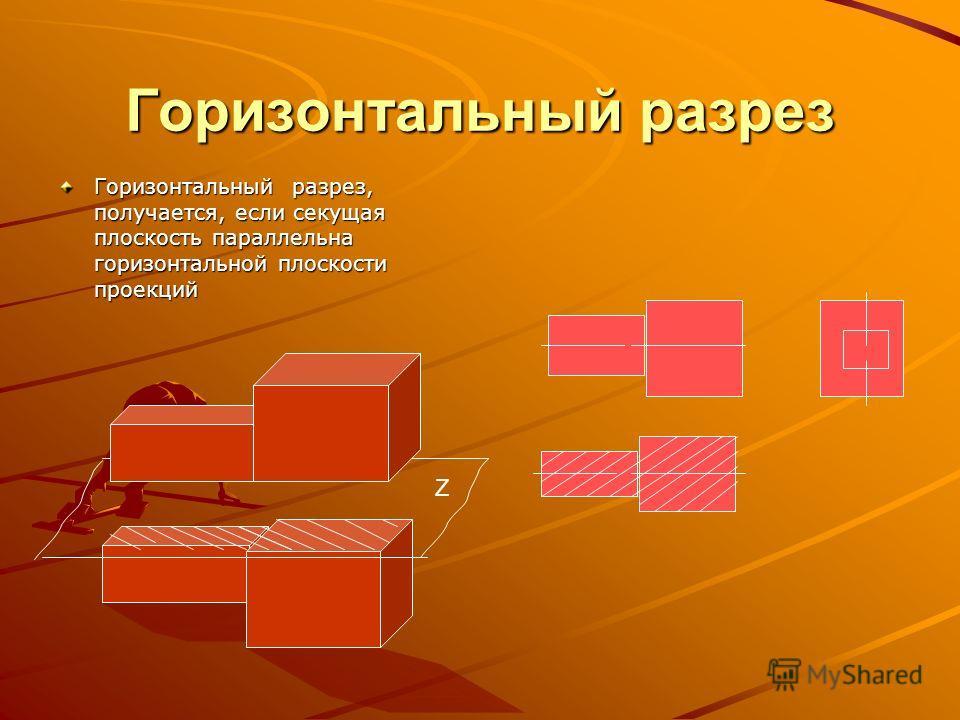 Фронтальный разрез Фронтальным называется разрез, полученный в результате мысленного рассечения детали вертикальной плоскостью Н