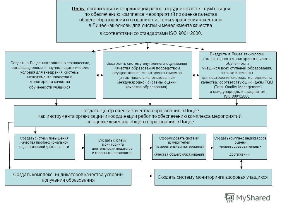 Цель: организация и координация работ сотрудников всех служб Лицея по обеспечению комплекса мероприятий по оценке качества общего образования и созданию системы управления качеством в Лицее как основы для системы менеджмента качества в соответствии с