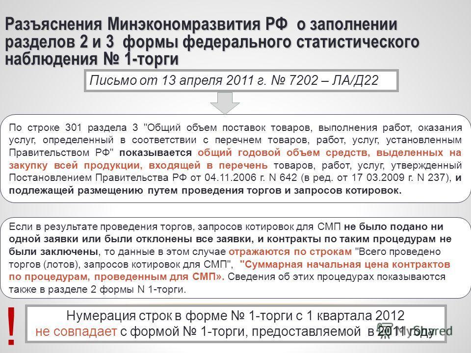 16 Разъяснения Минэкономразвития РФ о заполнении разделов 2 и 3 формы федерального статистического наблюдения 1-торги По строке 301 раздела 3