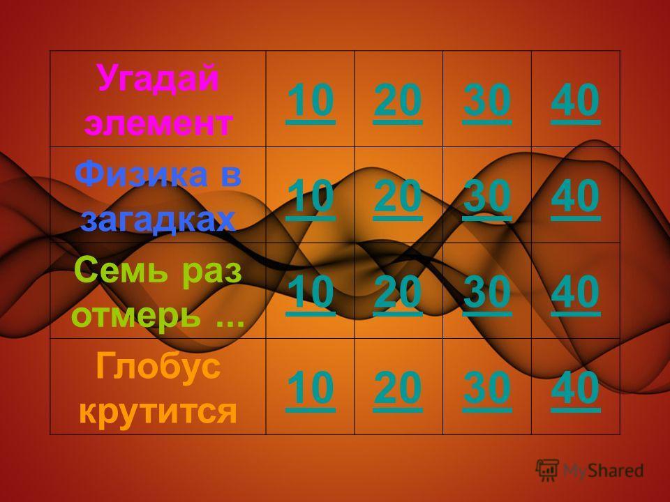 Угадай элемент 10203040 Физика в загадках 10203040 Семь раз отмерь... 10203040 Глобус крутится 10203040