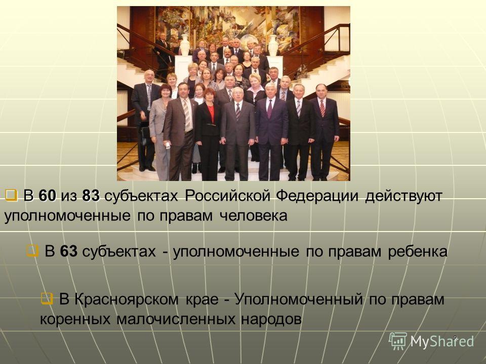 2 В 60 83 В 60 из 83 субъектах Российской Федерации действуют уполномоченные по правам человека В 63 субъектах - уполномоченные по правам ребенка В Красноярском крае - Уполномоченный по правам коренных малочисленных народов